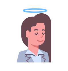 female head with nimbus emotion icon isolated vector image