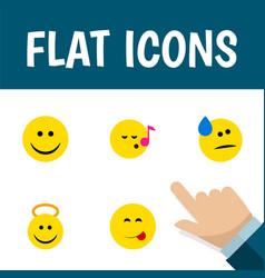 Flat icon emoji set of delicious food descant vector