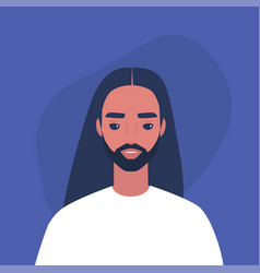 flat portrait a young bearded male vector image