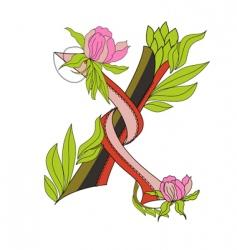 floral font 2 letter x vector image