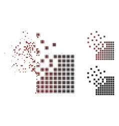 Fractured dot halftone dissolving pixel mosaic vector