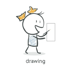 Girl Draws vector image