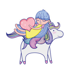 girl with heart riding cute unicorn vector image