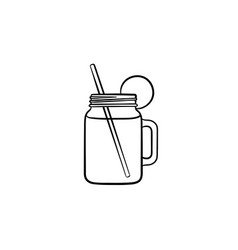 glass jars of cocktail hand drawn sketch icon vector image