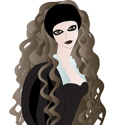 Goth girl with long wavy hair vector