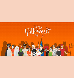 group teens in halloween costume concept vector image