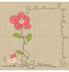 hand drawn frame with flowers vector image