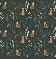 hand drawn seamless pattern with cute ducks vector image