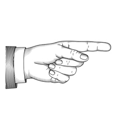 Hand with pointing finger Woodcut vector image