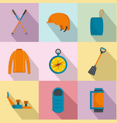 Hike way icons set flat style vector