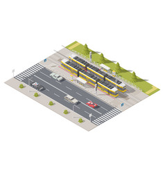 infographics representing the tram station side of vector image