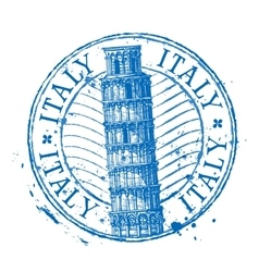 Italy logo design template Shabby stamp or vector