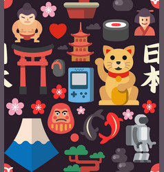 Japan seamless icon background vector