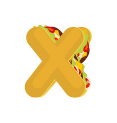 letter x tacos mexican fast food font taco vector image