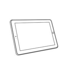 line drawing a tablet device perspective view vector image