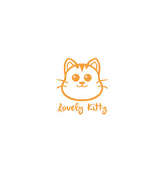lovely kitty cute cat yellow line art logo vector image