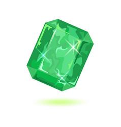 Luxury asscher cut green emerald natural vector
