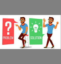 Man solving problem problem solution vector