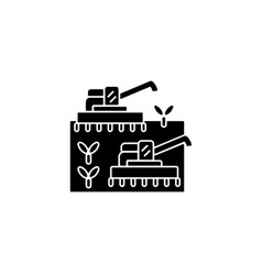 mechanized agriculture black glyph icon vector image