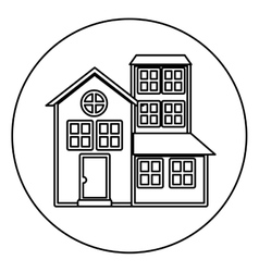 Monochrome contour circle of house with three vector