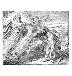 Moses at the burning bush vintage vector