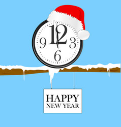 new year clock with red christmas hat vector image