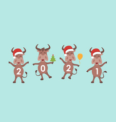 new year ox oxen cartoon characters in santa vector image