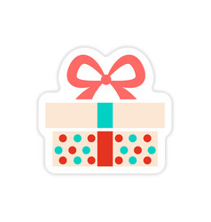 Paper sticker on white background christmas gift vector