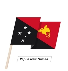 Papua New Guinea Ribbon Waving Flag Isolated on vector