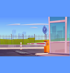 parking security entrance with car barrier booth vector image