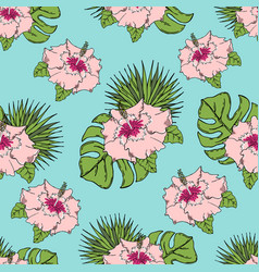 pattern with tropical leaves and flowers vector image