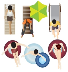 People Pool and Beach top view set 2 vector