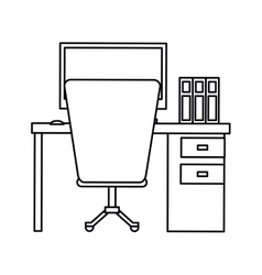 pictogram workplace office space equipment design vector image