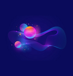 Planets stars and abstract waveform vector