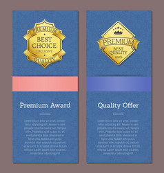 premium award quality offer golden labels crown vector image