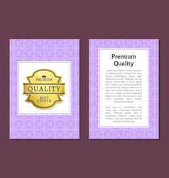 premium quality golden label cover design template vector image