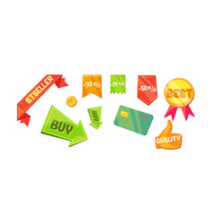 promotional badges and sale tags set sale vector image