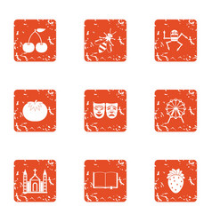 Psyche icons set grunge style vector
