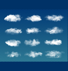 Realistic sky clouds transparent background vector
