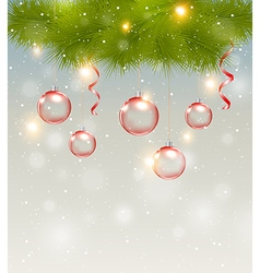 Red decorations and green pine branch vector