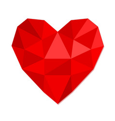 Red heart symbol love from crumpled paper stock vector