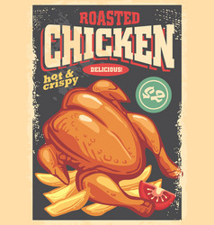 roasted chicken flyer design in retro style vector image