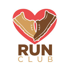 Run club heart and sport sneakers shoes vector