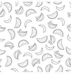 seamless pattern with bananas and watermelons on vector image