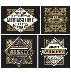 set 4 vintage labels layered vector image