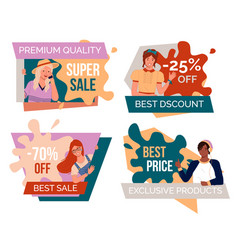 Set big sale banners discount poster template vector