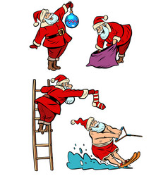 set collection santa claus character christmas vector image