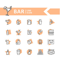 set of alcohol and bar night club line vector image