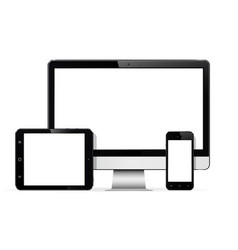 Set of modern digital devices computer monitor vector