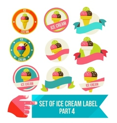 Set of modern ice cream shop badges and labels vector